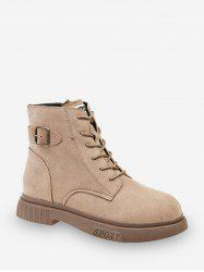 Buckle Accent Lace Up Cargo Boots -