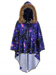 Plus Size Faux Fur 3D Galaxy Print Poncho Coat -
