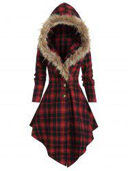 Plaid Print Lace-up Skirted Coat with Faux Fur Hood -