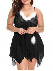 Plus Size Christmas Feather Handkerchief Babydoll Set -
