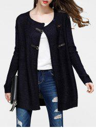 Faux Leather Buckled Tunic Cardigan -