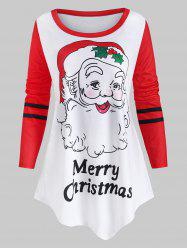 Plus Size Santa Claus Christmas Asymmetric Tee -