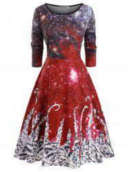 Long Sleeve Galaxy Printed Christmas Plus Size Dress -