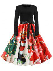 Christmas Santa Claus Belted Knee Length Dress -