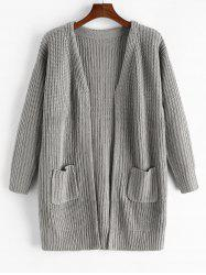 Open Front Pockets Rib Knit Cardigan -