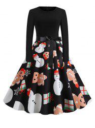 Christmas Santa Claus Snowflake Snowman Belted Long Sleeve Dress -