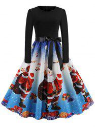 Christmas Knee Length Belted Party Dress -