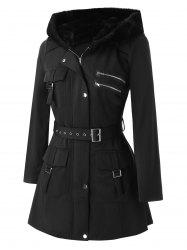 Plus Size Pockets Zippered Buckles Belted Coat -