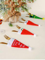 4 Pcs Christmas Decoration Hat Shape Knives and Forks Cover Bag -