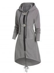 Hooded Kangaroo Pocket Zip Up High Low Coat -