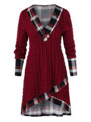 Plus Size Plaid High Low Cable Knit Sweater -