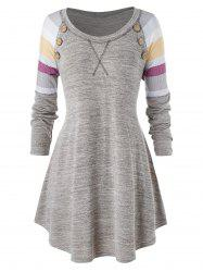 Plus Size Striped Marled Buttons Tunic Knitwear -