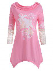 Lace Panel Small Bell Snowflake Elk Christmas Plus Size Top -