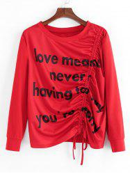 Plus Size Graphic Cinched Slogan Sweat-shirt -