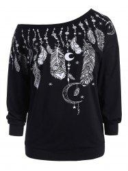 Pullover Feather Graphic One Shoulder Plus Size Sweatshirt -