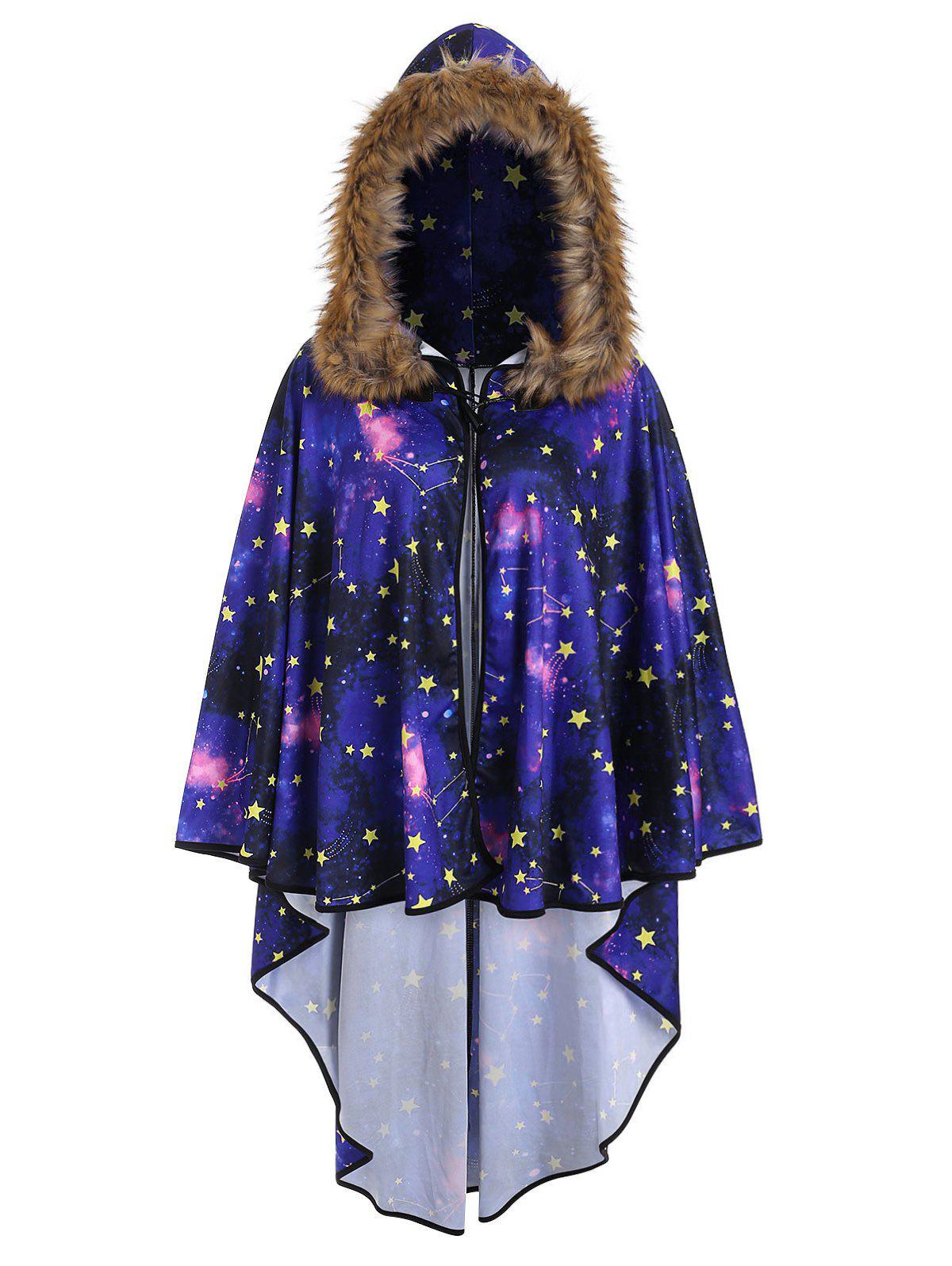 Unique Plus Size Faux Fur 3D Galaxy Print Poncho Coat
