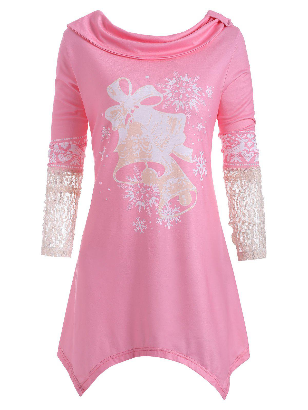 Shops Lace Panel Small Bell Snowflake Elk Christmas Plus Size Top