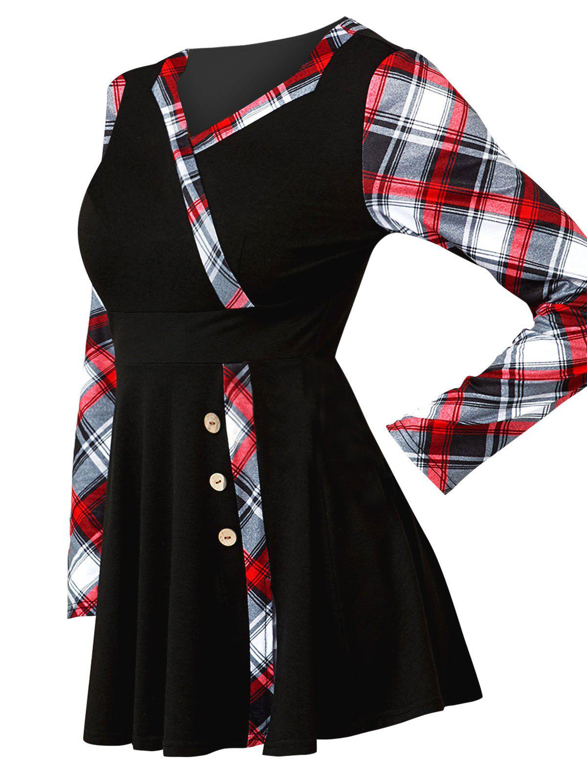 New Mock Button Plaid Print Mini Surplice Dress