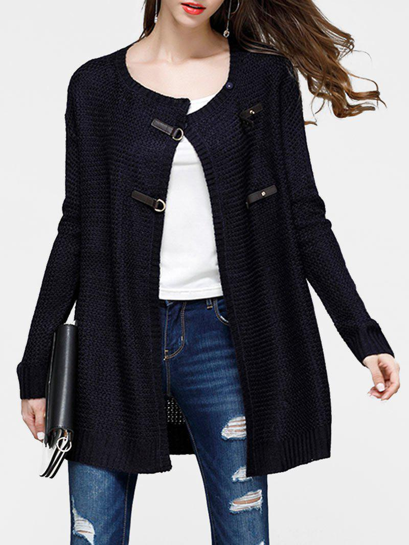 Cheap Faux Leather Buckled Tunic Cardigan