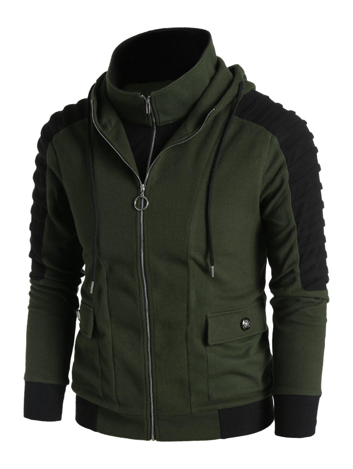 Fancy Pleated Sleeve Double Pockets Contrast Double Zip Up Hoodie