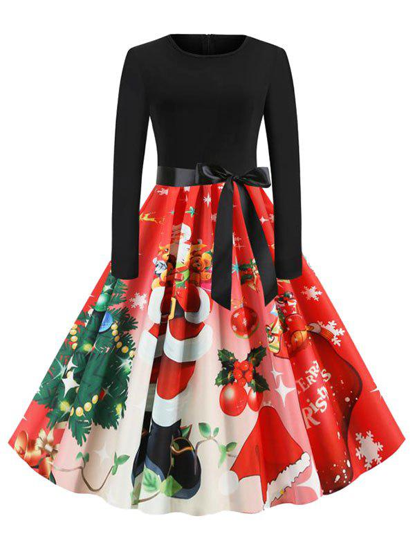 Fashion Christmas Santa Claus Belted Knee Length Dress