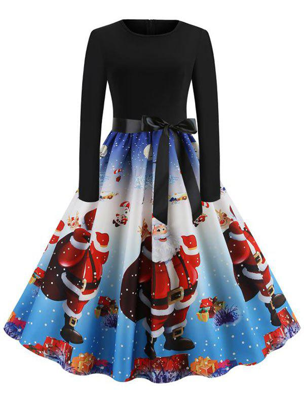 Unique Christmas Knee Length Belted Party Dress