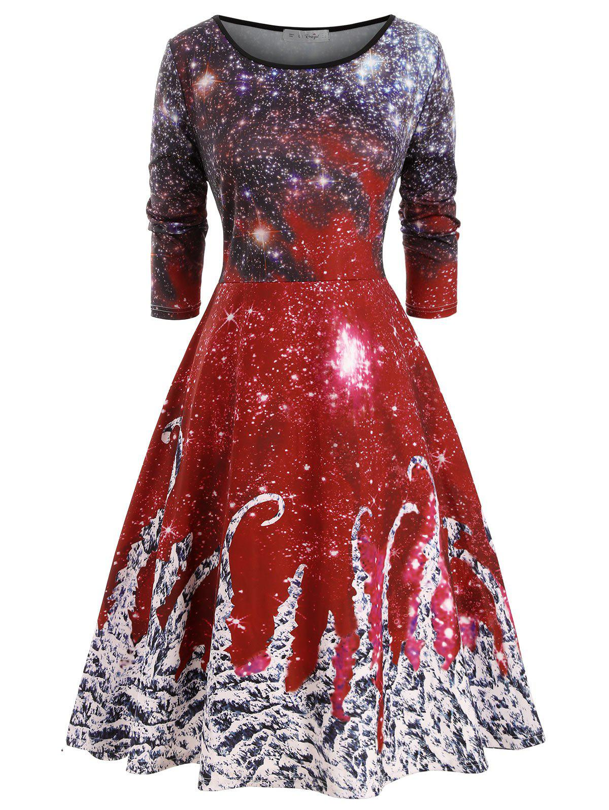 Outfit Long Sleeve Galaxy Printed Christmas Plus Size Dress