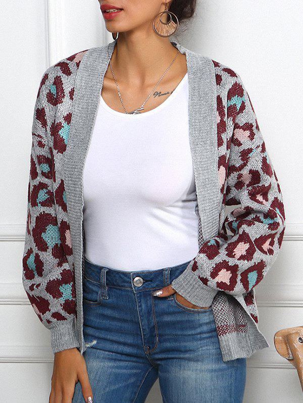 Online Leopard Graphic Collarless Cardigan
