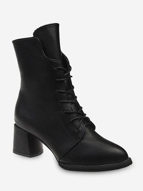 Cheap Pointed Toe Lace Up Mid Calf Boots