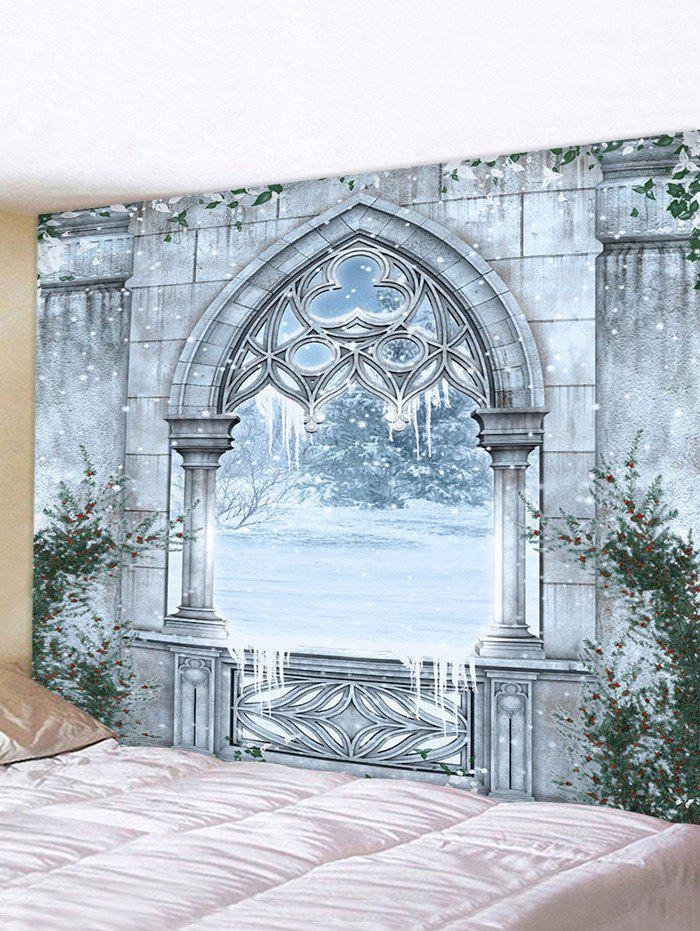Castle Window Snow Print Tapestry Wall Hanging Art Decoration, Multi