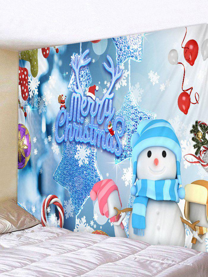 Online Christmas Snowman Elements Print Tapestry Wall Hanging Art Decoration