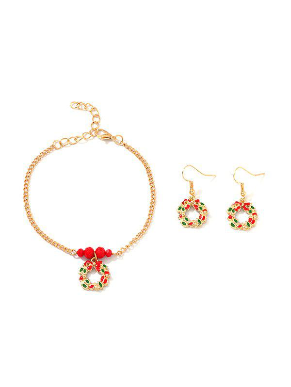 Unique Christmas Garland Chain Bracelet and Hook Earrings
