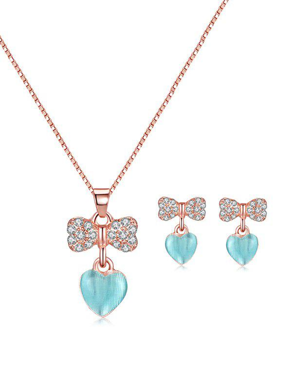 Outfit Rhinestone Bowknot Heart Pendant Necklace and Earrings