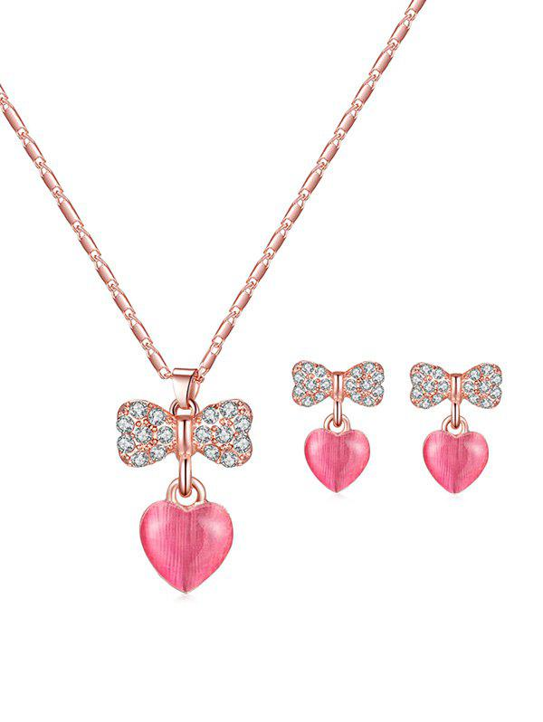 Trendy Rhinestone Bowknot Heart Pendant Necklace and Earrings