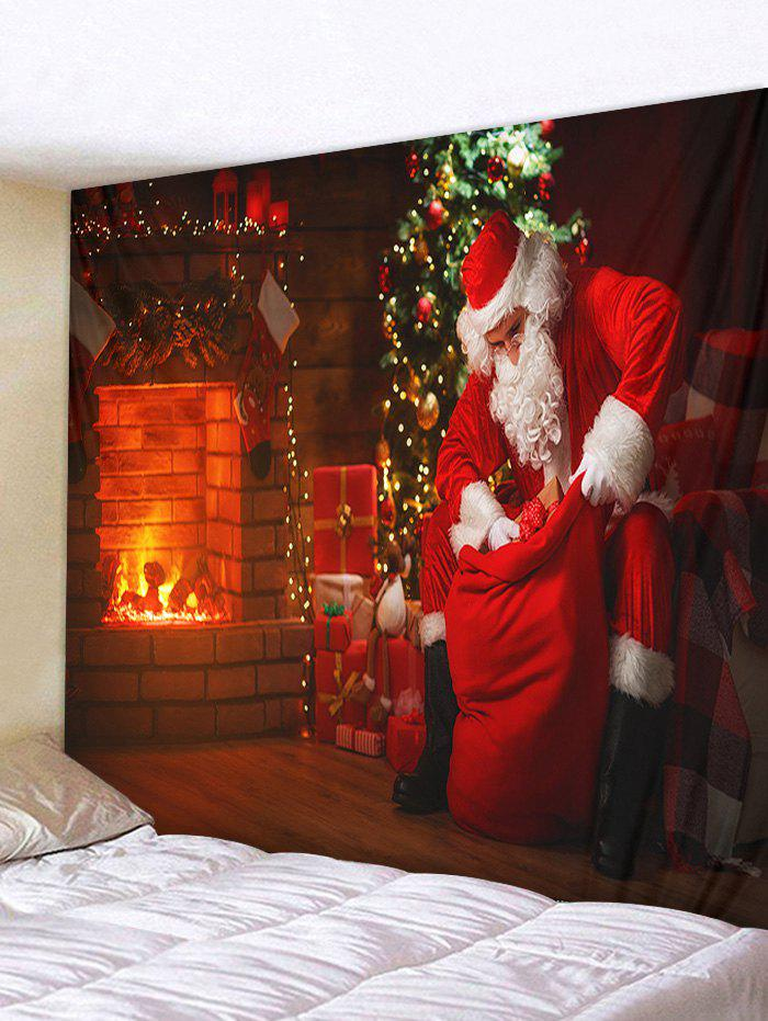 New Christmas Tree Santa Claus Fireplace Print Tapestry Wall Hanging Art Decoration