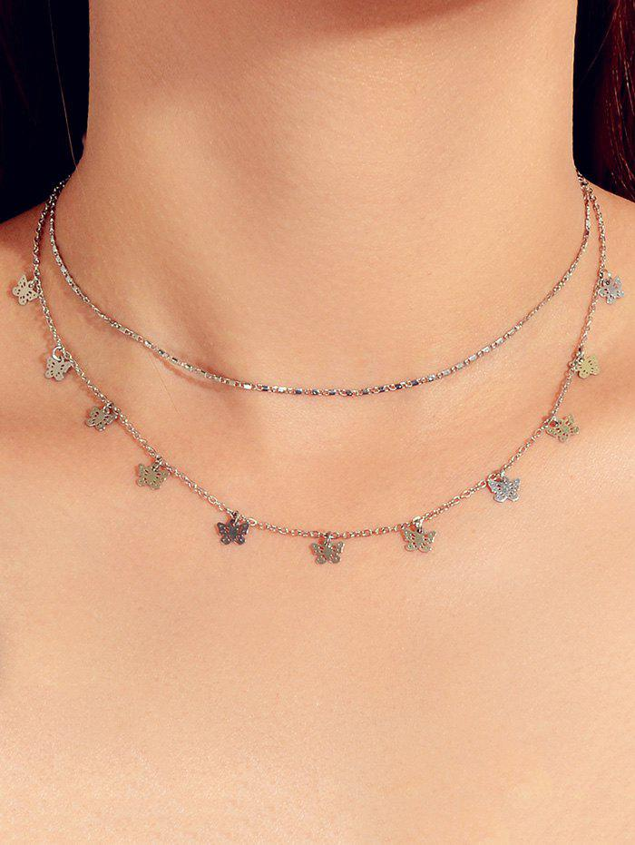Store Double Layered Hollowed Butterfly Necklace