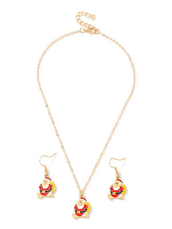Outfit Christmas Santa Claus Chain Necklace and Hook Earrings