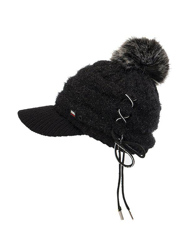 Sale Furry Fuzzy Ball Knitted Winter Hat