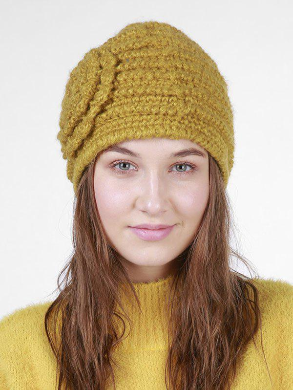 Unique Solid Knitted Winter Flower Pattern Hat