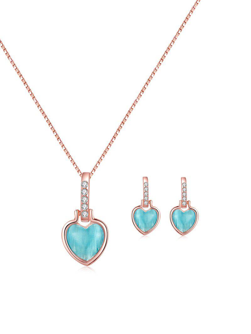 Trendy Rhinestone Heart Shape Pendant Necklace and Earrings