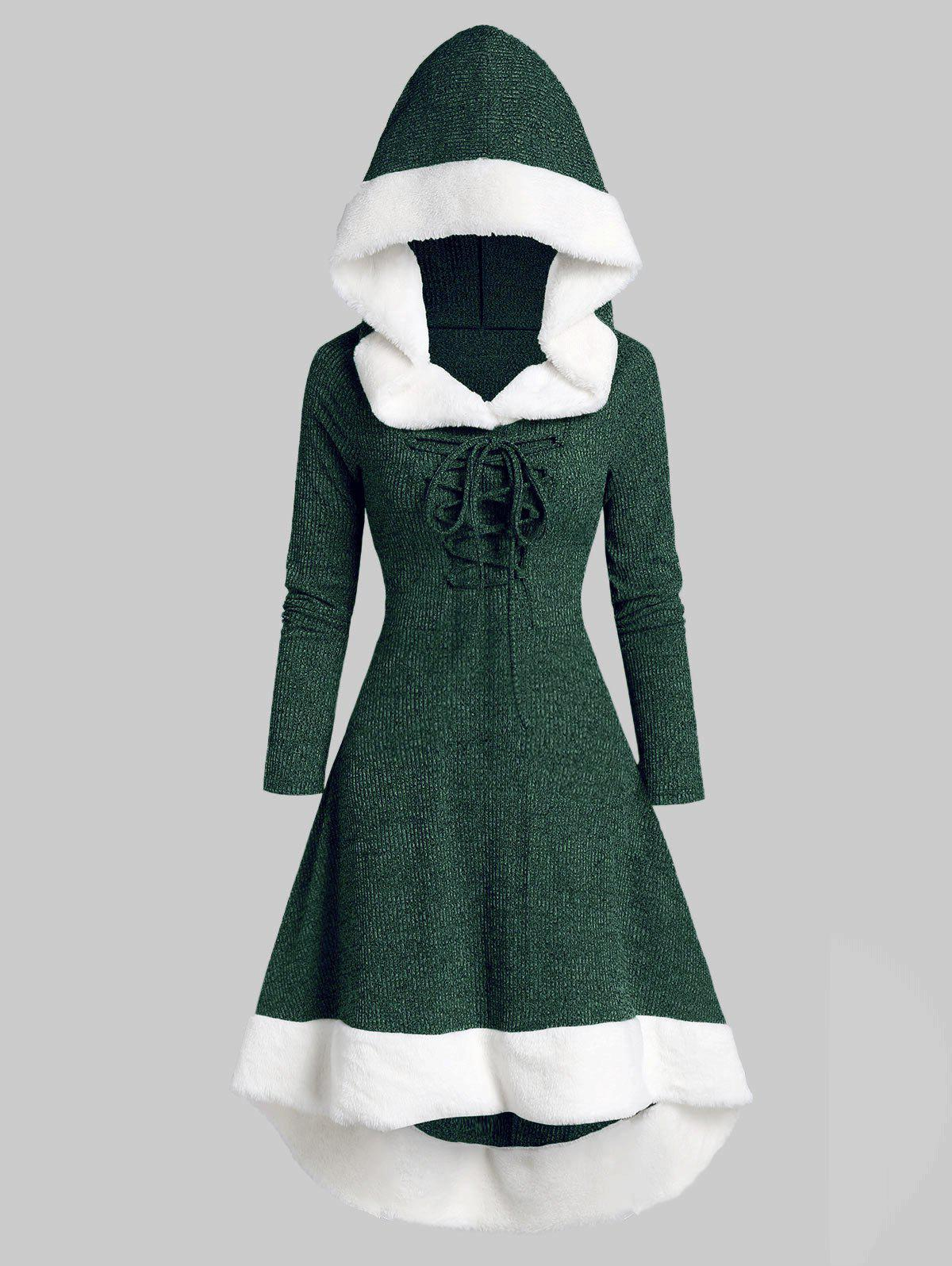 Lace Up Hooded Marled Faux Fur Panel Dress фото