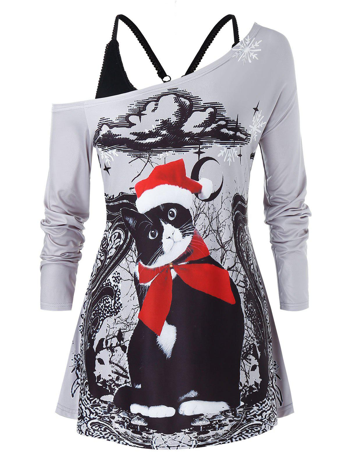 Plus Size Christmas Skew Neck Cat Print T Shirt with Tank Top Set фото
