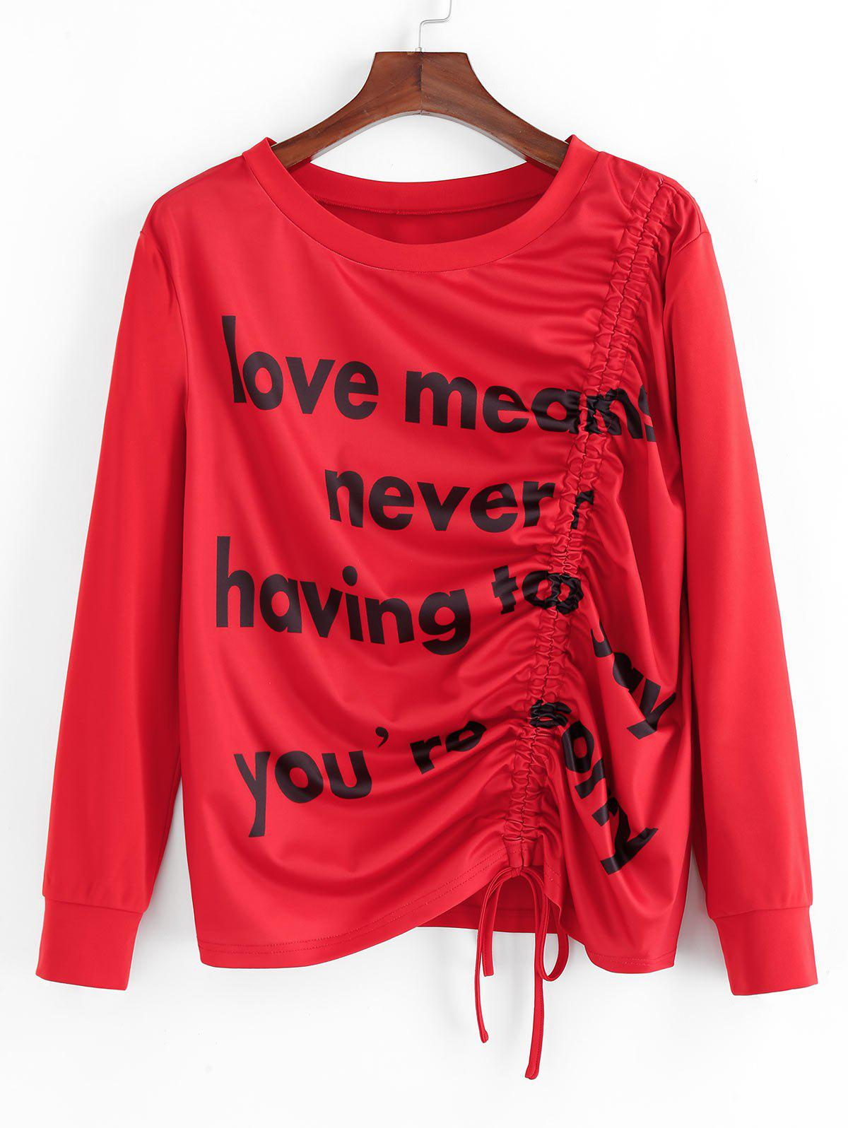 Plus Size Graphic Cinched Slogan Sweat-shirt