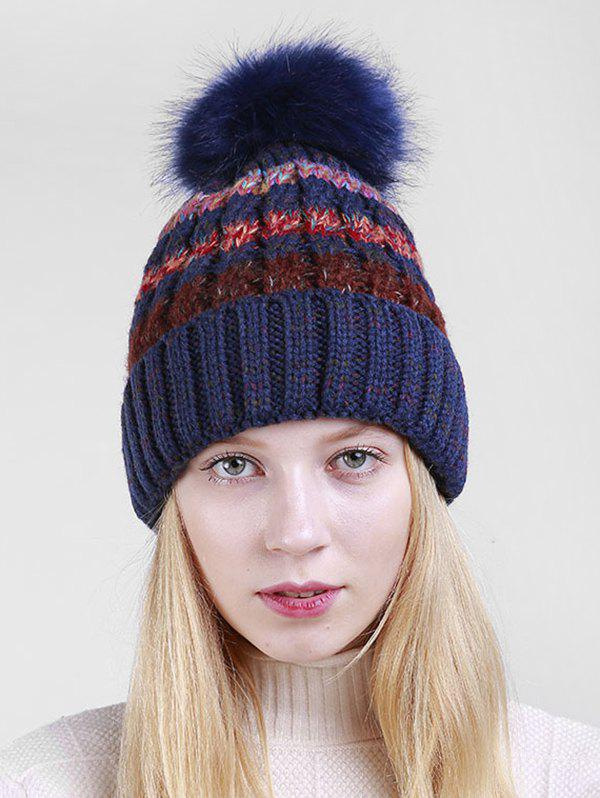 Shop Striped Knitted Winter Fuzzy Ball Hat