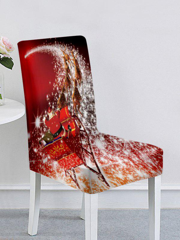 Discount Christmas Santa Claus Elk Snowflake Ball Print Chair Cover