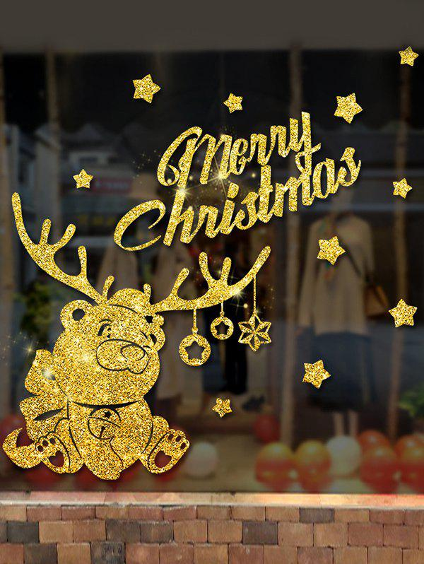 Trendy Merry Christmas Bear Wall Sticker Set