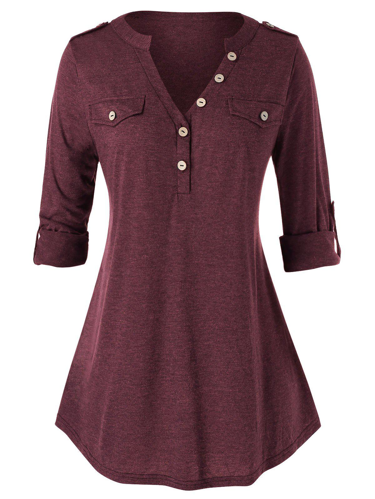 Plus Size Buttons Roll Up Sleeve Heathered T Shirt фото