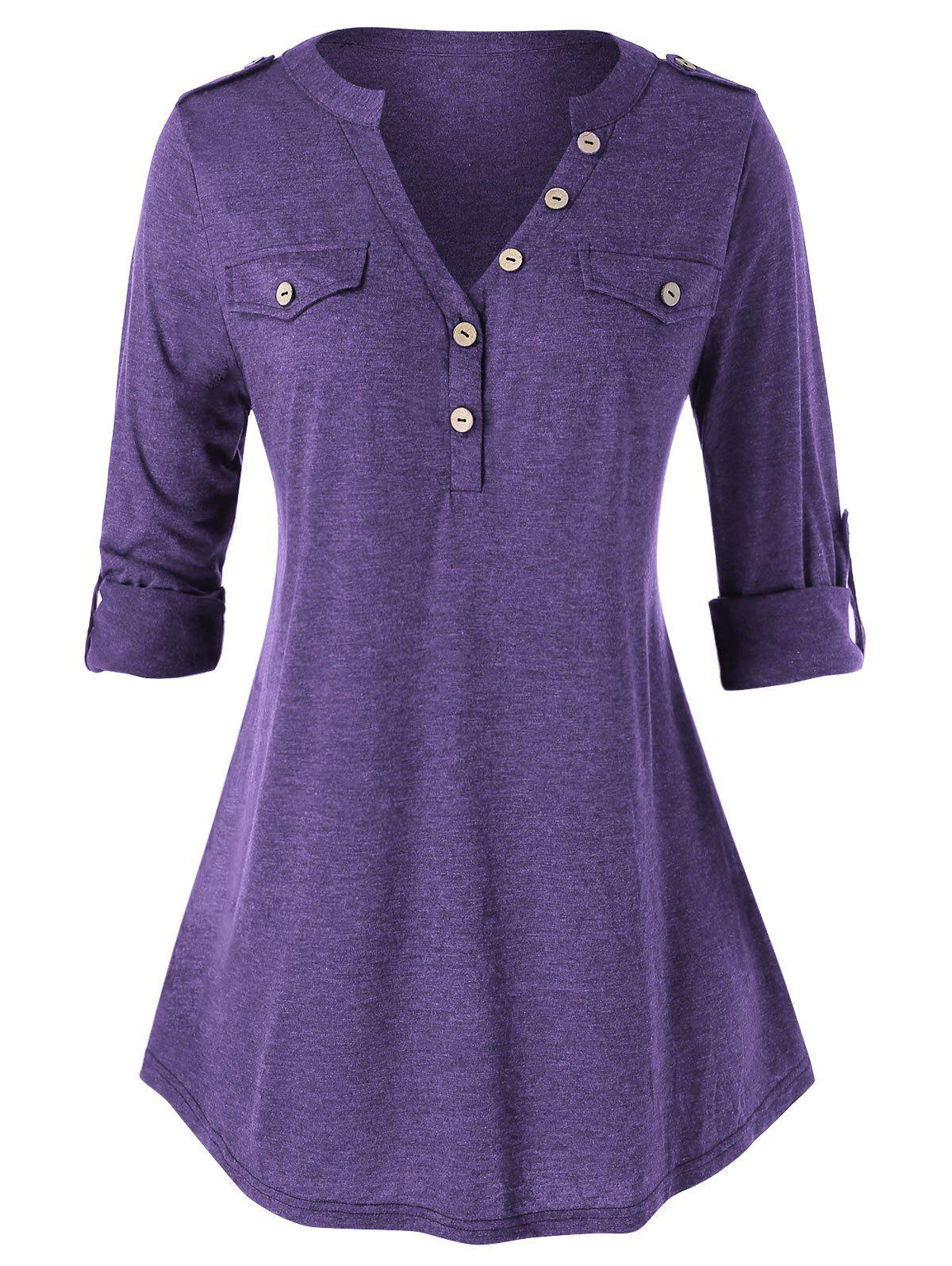 Affordable Plus Size Buttons Roll Up Sleeve Heathered T Shirt