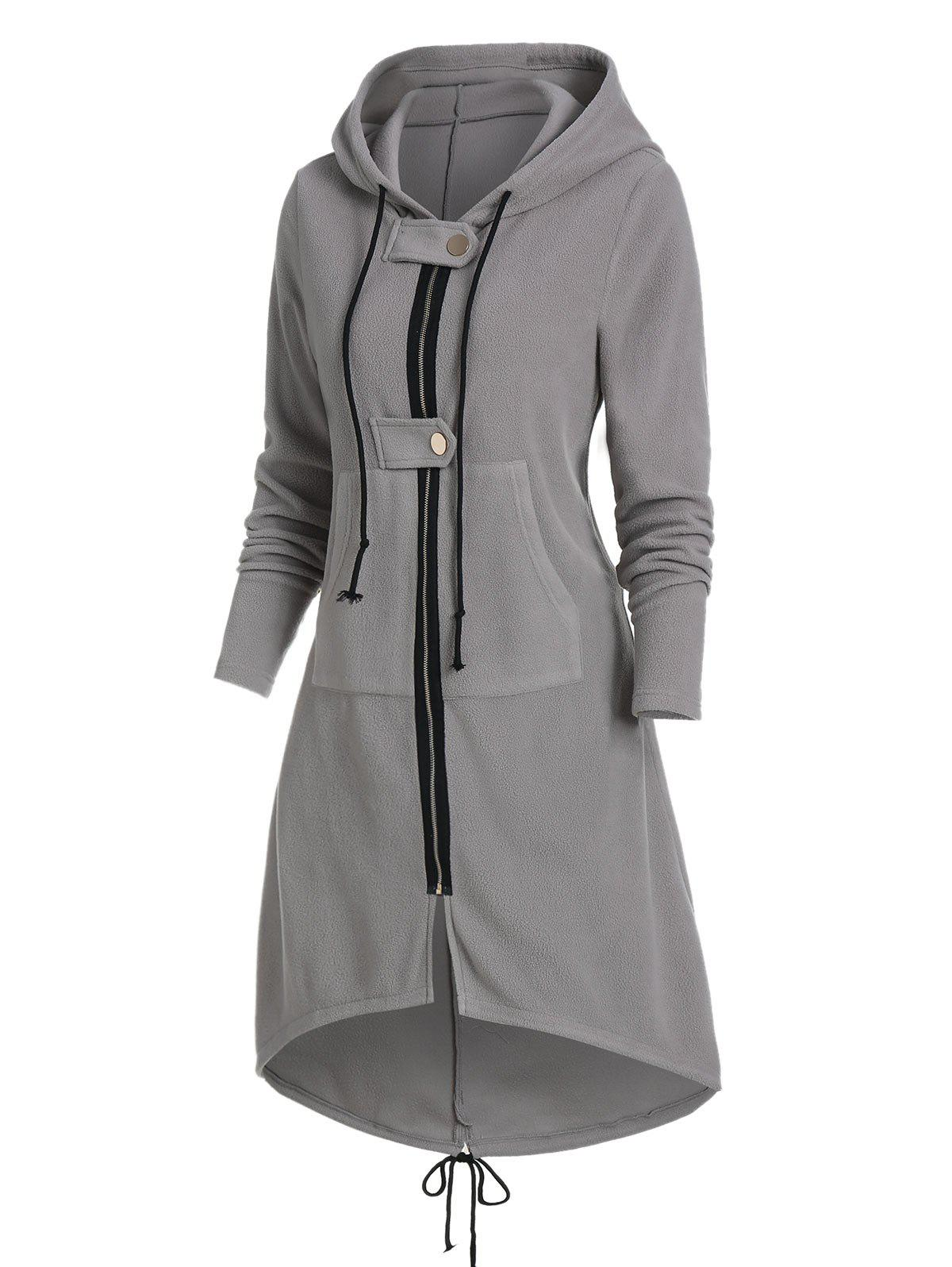 Fashion Hooded Kangaroo Pocket Zip Up High Low Coat