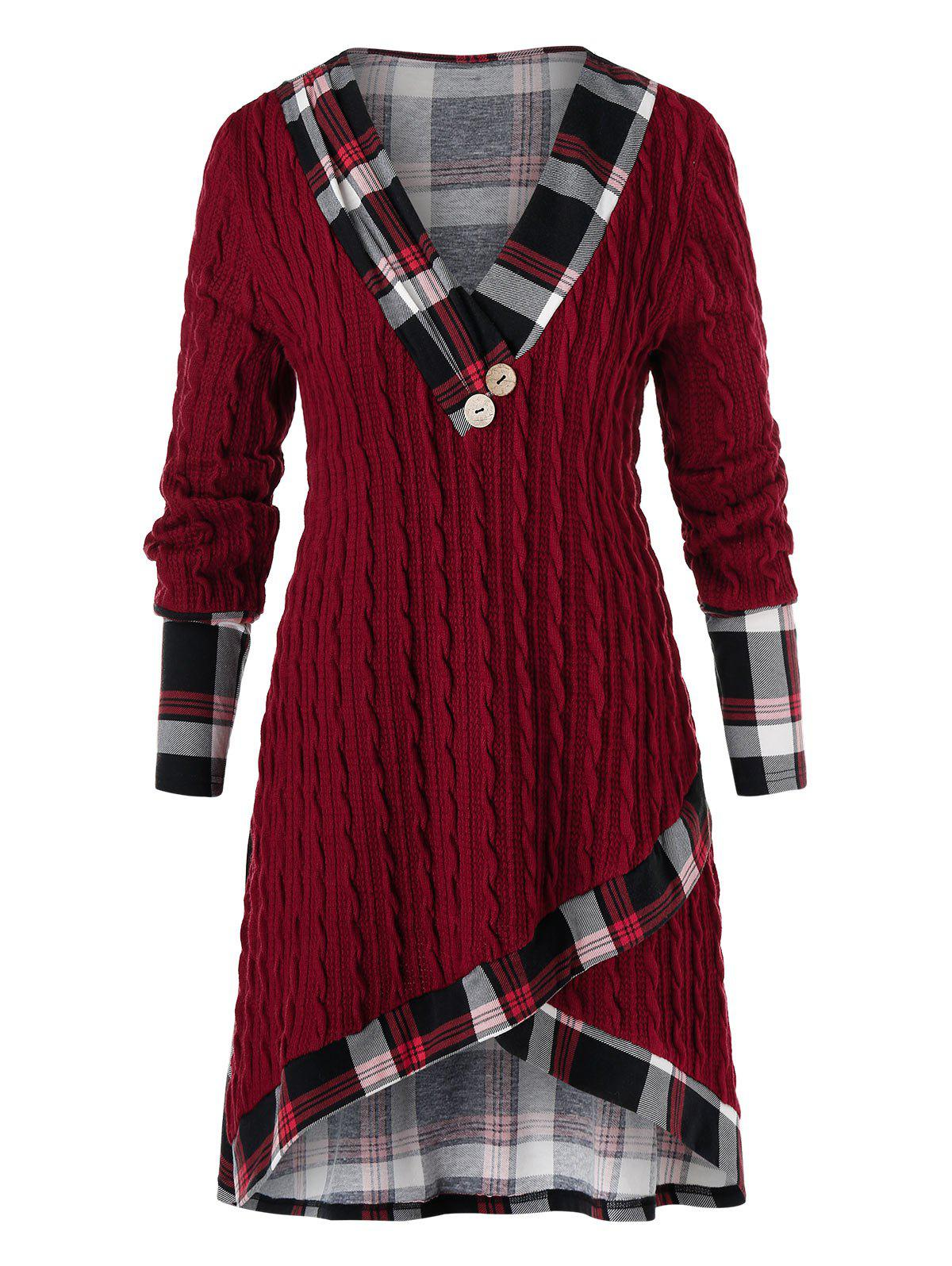 Chic Plus Size Plaid High Low Cable Knit Sweater